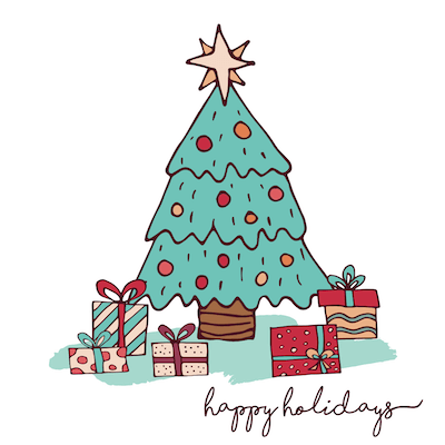 Printable Christmas Cards - Happy Holidays Decorated Tree Gifts