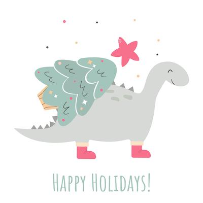 Free Printable Christmas Cards Happy Holidays Dinosaur Tree