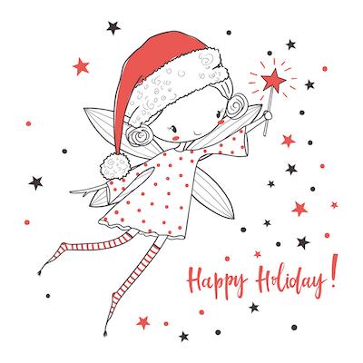 Free Printable Christmas Cards Happy Holidays Fairy