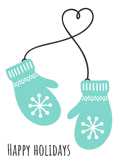 Printable Christmas Cards - Happy Holidays Mittens Heart