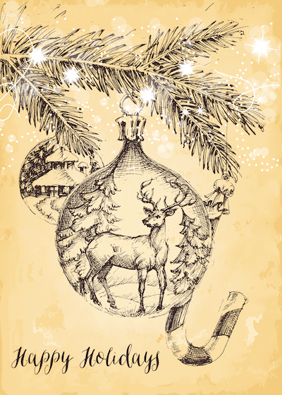 Free Printable Christmas Cards Happy Holidays Sepia Deer Bauble Candy Cane