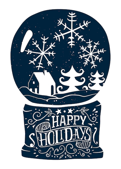 Printable Christmas Cards - Happy Holidays Snowglobe