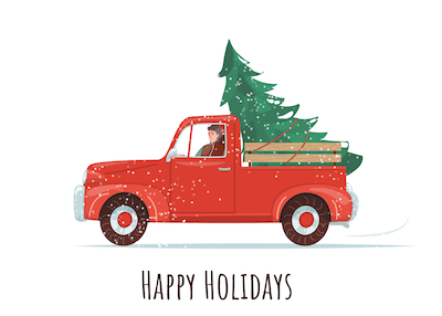 Printable Christmas Cards - Happy Holidays Tree Truck Snow