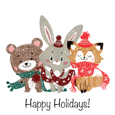 Printable Christmas Cards - Happy Holidays Woodland Animals