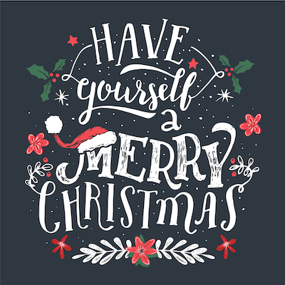 Printable Christmas Cards - Have Yourself Merry Blackboard