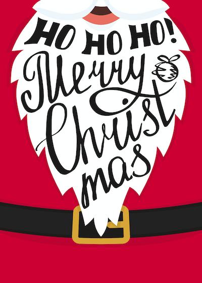 Free Printable Christmas Cards Hohoho Merry Santa Beard