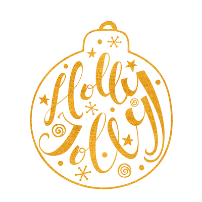 Printable Christmas Cards - Holly Jolly Gold Bauble