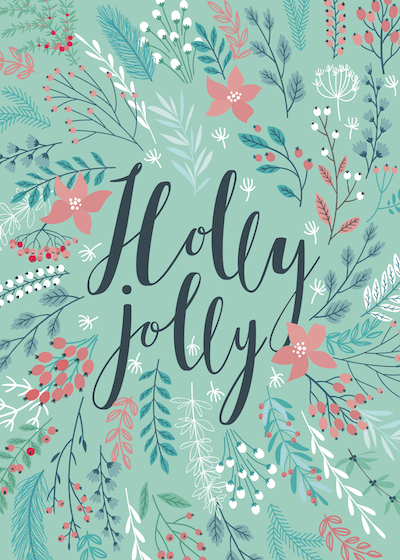 Free Printable Christmas Cards Holly Jolly Green Botanical