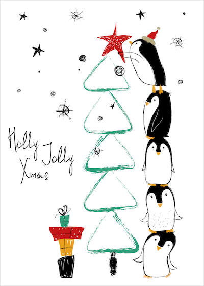 Free Printable Christmas Cards Holly Jolly Penguin Tree Cute