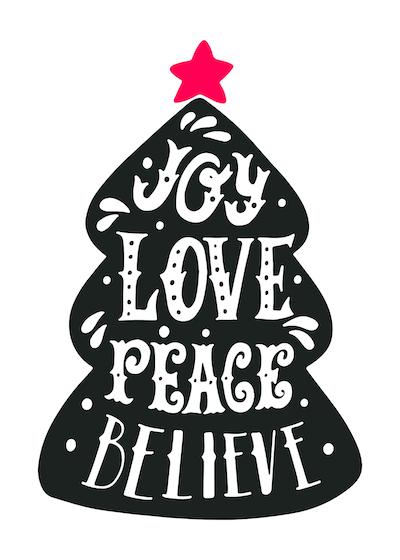 Free Printable Christmas Cards Joy Love Peace Believe Tree