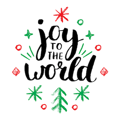 Printable Christmas Cards - Joy to the World Red Green