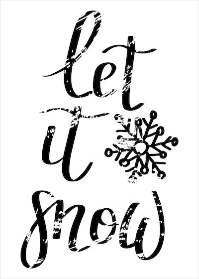 Free Printable Christmas Cards Let It Snow Snowflake Black White