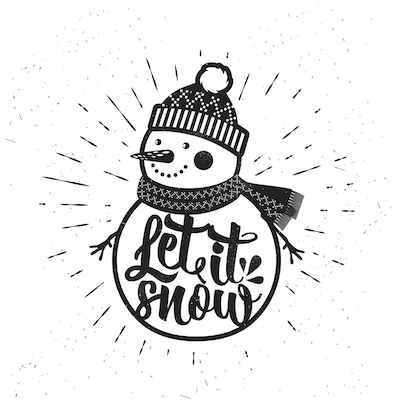 Free Printable Christmas Cards Let It Snow Snowman Black White