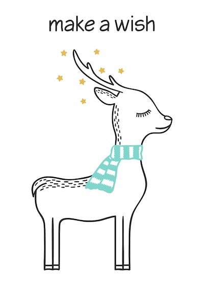 Free Printable Christmas Cards Make a Wish Cute Deer