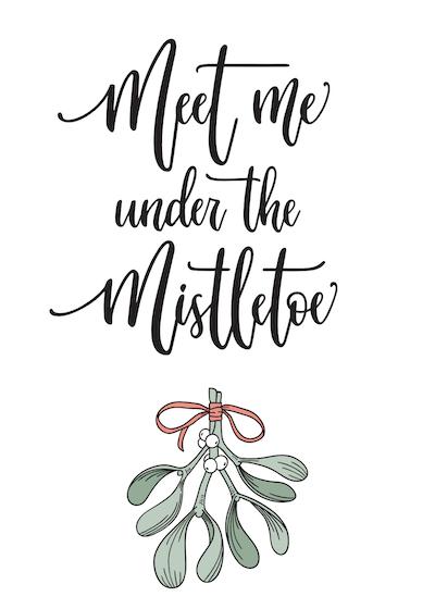 Free Printable Christmas Cards Meet Me Under the Mistletoe