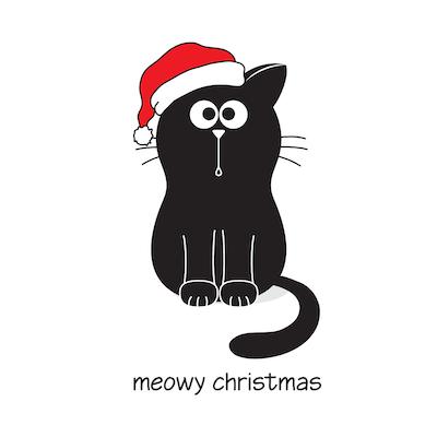 Free Printable Christmas Cards Meowy Christmas Cute Cat Santa Hat