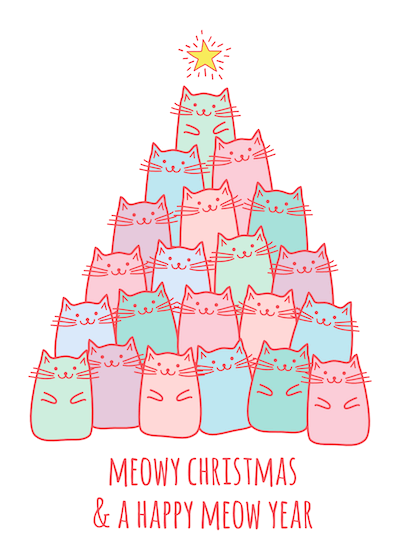Printable Christmas Cards - Happy Meow Year Cute Cats Tree