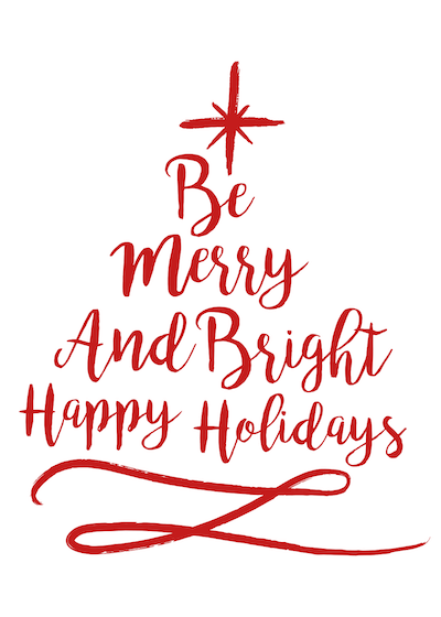 Printable Christmas Cards - Merry and Bright Happy Holidays Red Tree Star