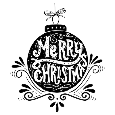 Free Printable Christmas Cards Merry Bauble Black White