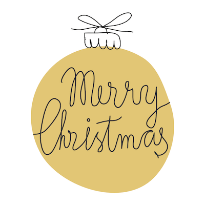 Printable Christmas Cards - Merry Bauble Gold
