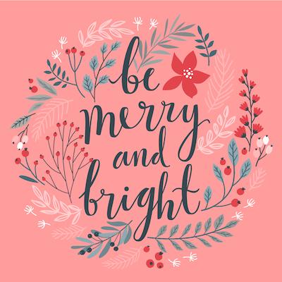 Free Printable Christmas Cards Merry Bright Botanical Wreath
