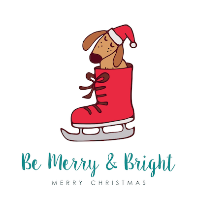 Printable Christmas Cards - Merry Bright Cute Dog in Skate