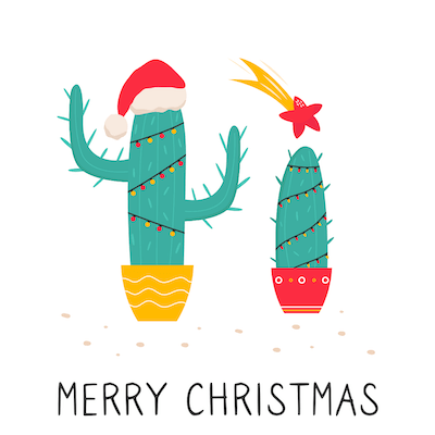 Free Printable Christmas Cards Merry Cactus Tree Lights Star