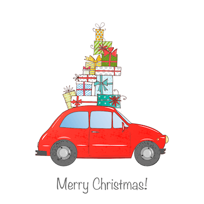 Printable Christmas Cards - Merry Car Piled Gifts