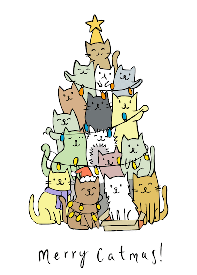 Printable Christmas Cards - Merry Catmas Cute Cats Tree Lights