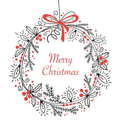 Free Printable Christmas Cards Merry Christmas Wreath Simple