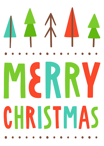 Printable Christmas Cards - Merry Colorful Letters Trees