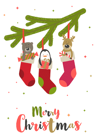 Printable Christmas Cards - Merry Cute Stockings Branch