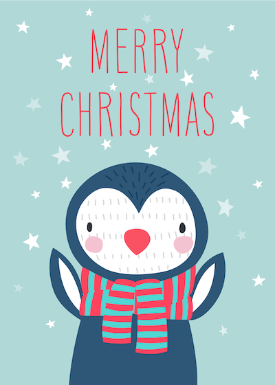 Printable Christmas Cards - Merry Cute Winter Penguin