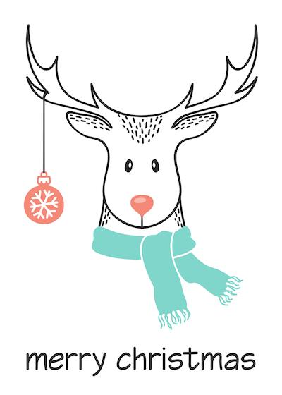 Free Printable Christmas Cards Merry Deer Scarf Bauble
