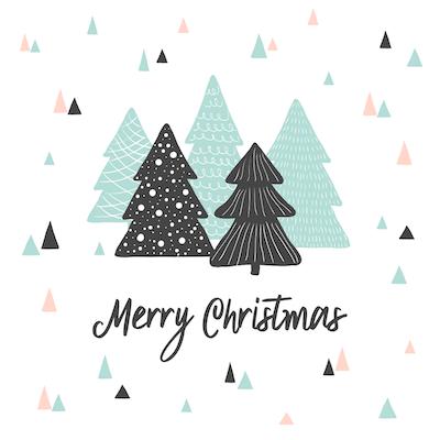 Free Printable Christmas Cards Merry Geometric Trees Triangles