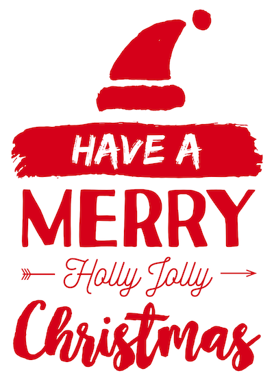 Free Printable Christmas Cards Merry Holly Jolly Santa Hat