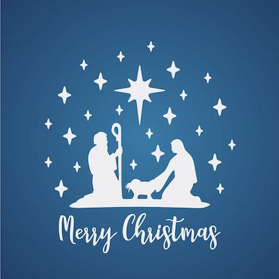 Free Printable Christmas Cards Merry Jesus Mary Joseph Blue