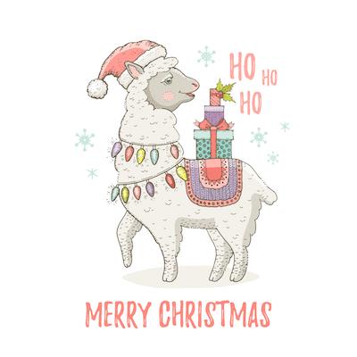 Free Printable Christmas Cards Merry Llama Lights Gifts