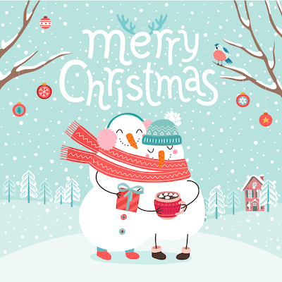 Printable Christmas Cards - Merry Snowman Hot Cocoa