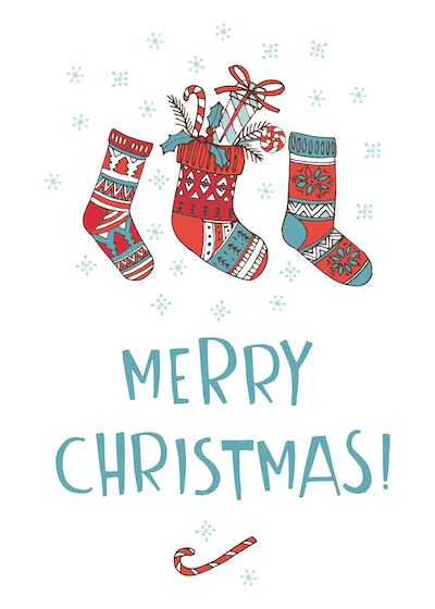 Printable Christmas Cards - Merry Stockings Candy Cane