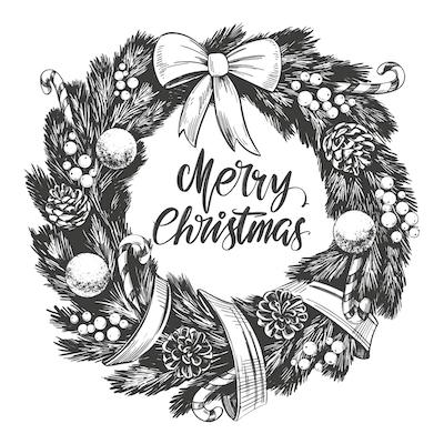 Free Printable Christmas Cards Merry Wreath Black White