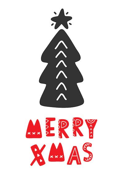 Free Printable Christmas Cards Merry Xmas Tree Black Red
