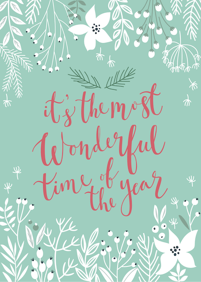 Free Printable Christmas Cards Most Wonderful Time of Year Botanical