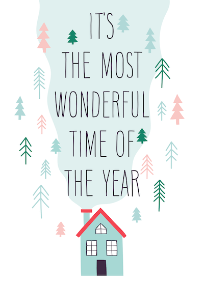 Free Printable Christmas Cards Most Wonderful Time of Year House Trees