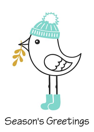 Free Printable Christmas Cards Seasons Greetings Cute Bird