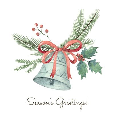 Free Printable Christmas Cards Seasons Greetings Holly Fir Bell