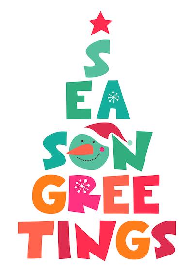 Free Printable Christmas Cards Seasons Greetings Tree Colorful