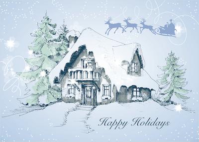 Free Printable Christmas Cards Snowy Cottage Santa Sleigh Happy Holidays
