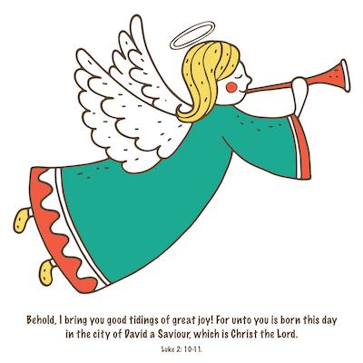 Free Printable Christmas Cards Tidings of Joy Angel Trumpet Luke 2 10 11