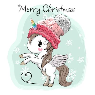 Free Printable Christmas Cards Unicorn Snow